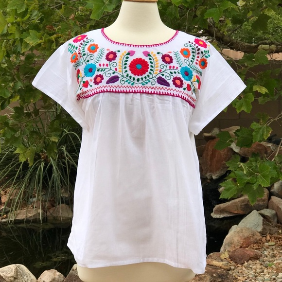 18348ac8db4313 Mexican Hand-Embroidered Blouse- Boho Style